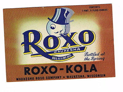 1950s Roxo Waukesha Cola Kola 32oz bottle label Tavern Trove