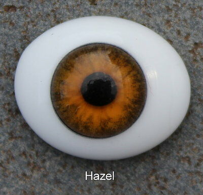 Solid Glass, Flatback Oval Paperweight Eyes - Hazel,  24mm