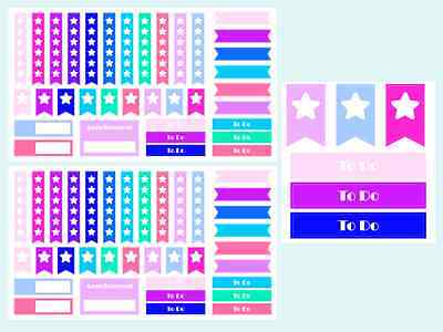 Mixed Checklist and Header Planner & Calender Stickers, 2 Sheets,70 Stickers