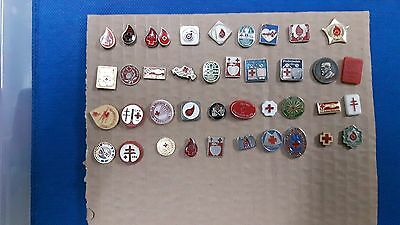 Pins - Red Cross Blood Donors Blood Donoring- Set Of 40 Pins