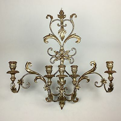 Antique Vintage Huge Italian Florentine Silver Gilt Metal Tole Wood Wall Sconce