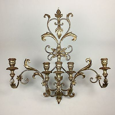 Large Antique Vintage Italian Florentine Silver Gilt Metal Tole Wood Wall Sconce