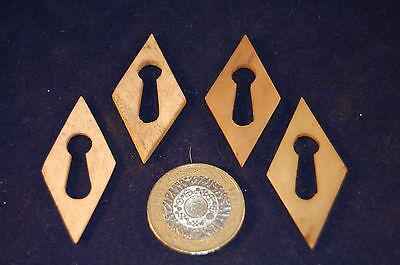 4 Antique Victorian DIAMOND Shaped Hand Cut Bone Escutcheons Keyholes  (13)