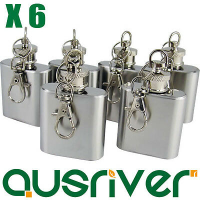 Sale 6X Quality 1oz Stainless Steel Mini Pocket Liquor Hip Flask Key Ring Chain