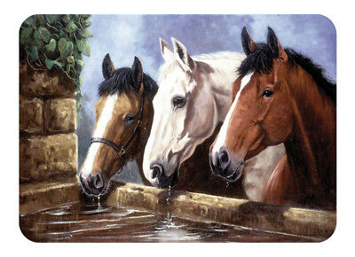 Tuftop Three of a Kind Horses Worktop Saver 40x30cm Glass Chopping Board Trivet