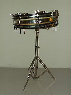Antique 1920's Nickel Student Snare Drum, Complete with Stand, Case & Book, Etc.