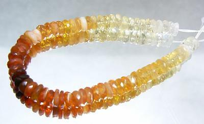 """NATURAL RED ORANGE CREAM FACETED MEXICAN FIRE OPAL BEADS 5mm 18.25ctw 5"""" STRAND"""