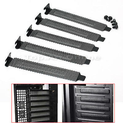 5 Pcs PCI Slot Cover Dust Filter Blanking Metal Black with Screws Removable