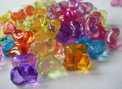 50 Clear Transparent Bows Pony Beads Red Blue Pink Green Purple Loom Bands Craft