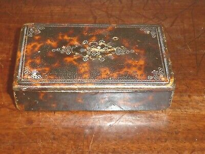 ANTIQUE faux SHELL veneered SNUFF BOX inlaid MOTHER of PEARL and WIRE WORK