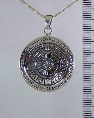Silver WHEEL OF THE YEAR Necklace Pendant