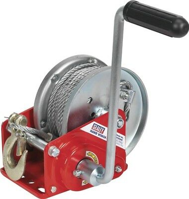 Sealey Geared Hand Winch with Brake & Cable 900Kg Capacity GWC2000B