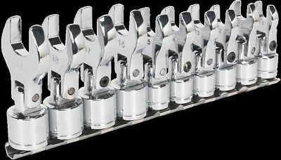 Sealey Flexible Crows Foot Open End Spanner Set 10 Piece 3/8 InchSq Drive Metric