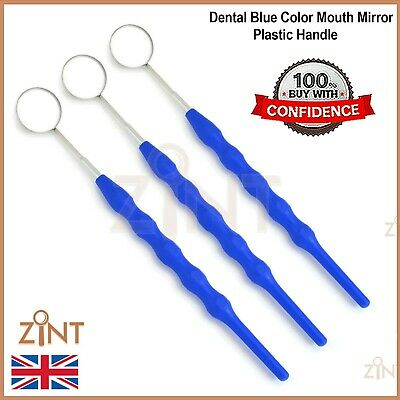 Set Of 3 Dental Blue Color Mouth Mirror Plastic Handle Oral Cleaning Inspection