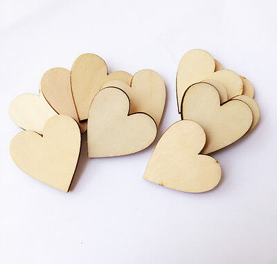 50 Wooden Heart shapes Laser Cut MDF Blank Embellishments Craft Decoration 30mm