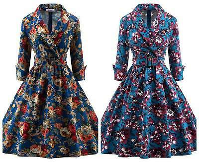 Women's Classy Floral Vintage 1950's Style Retro Casula Formal Party Swing Dress