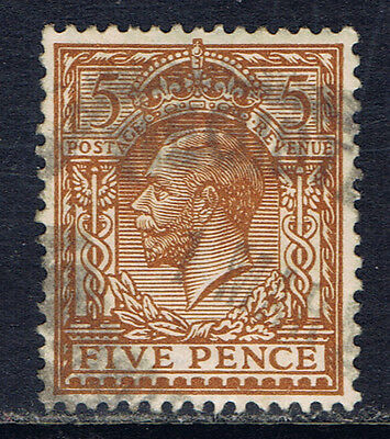 Great Britain #166 (8) 1912 5 pence yellow brown George V Used CV$3.75