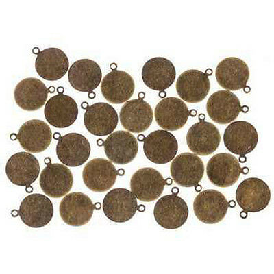 Metal Stamping Blanks Bronze 10mm Initial Charms Blank Charms 30 pieces