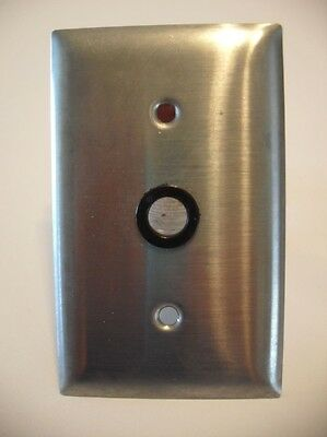 Satin Chrome Steel Round Cable Outlet Wall Cover Plate
