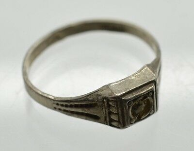 Antique Sterling Silver Baby Ring Birth Baptism Size 2 Diamond Solitaire