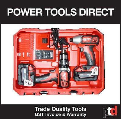 New Milwaukee 18V Cordless Hammer Drill/impact Driver Combo Kit - 3Amp Batteries