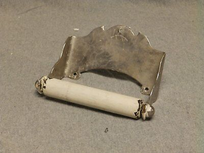 Antique Nickel Brass Victorian Toilet Paper Holder Vtg Brasscrafters 371-16
