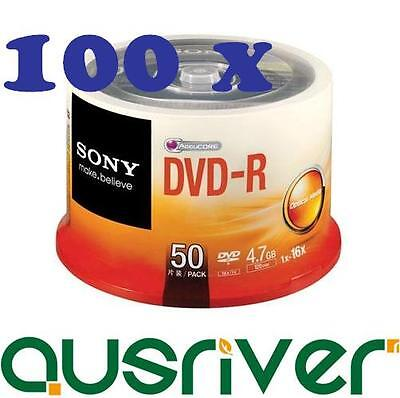 100x Sony DVD-R DVDR Recordable Blank Media Discs 16x 4.7GB 2x 50