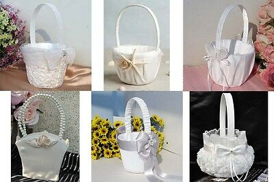 Wedding Party Rhinestone Lace Pearl Satin Bowknot  Pearl Flower Girl Basket New