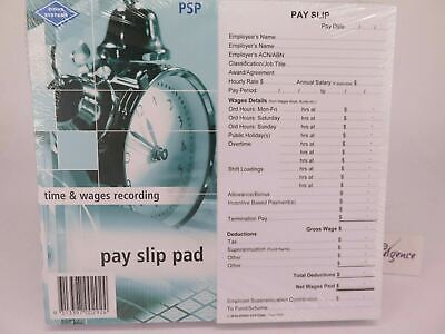 10 x Zions Pay Slip Pad (Fair Work Compliant) 165 x 90mm 50 Slip/Pad PSP