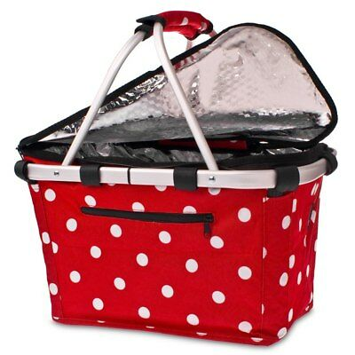 D.Line Shop & Go Insulated Cooler Carry Basket With Lid – Cherry Dots Design