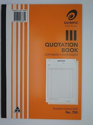 Olympic #750 Quotation Book Duplicate A4 297x210mm 50Lf 140880.