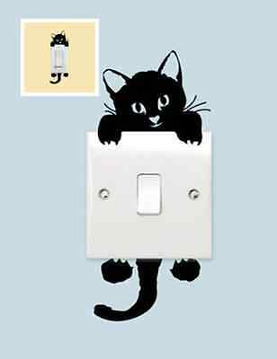 Home Wall Decor Decals Art Mural Funny Cute Black Cat Wall Stickers Light Switch