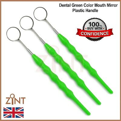 Dental Mouth Inspection Green Color Plastic Handle With Mirror Dentist Tools New