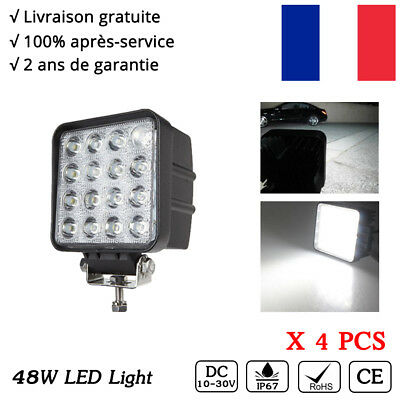 4x 48w LED Square Work light 12v 24v phare de travail off-road truck 4x4 SUV ATV