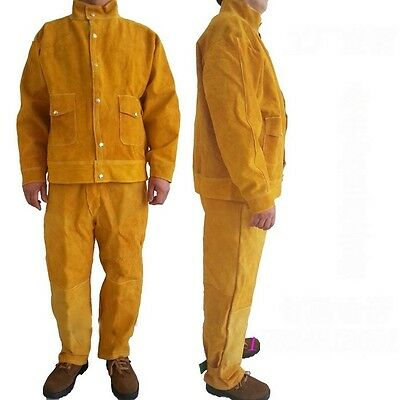 Split Leather Welding Apparel Suit Welders Jacket Trousers Protective Clothing