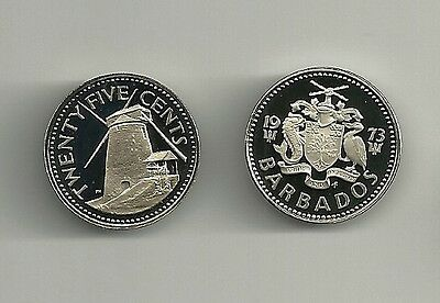 1973 BARBADOS 25 cent Windmill frosted  PROOF