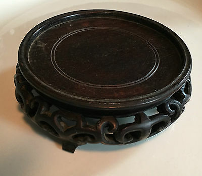 Antique Chinese Carved Hard Wood Display Stand for Kangxi Vase or Figure