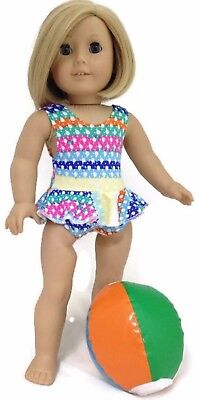 "Colorful Print Swimsuit & Beach Ball made for 18"" American Girl Doll Clothes"