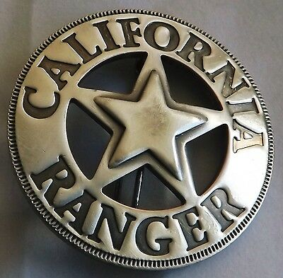 California Ranger Replica Old West Badge  Brass/Steel - Silver Plated  Made USA