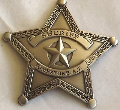 Sheriff Tombstone A.T. Star Replica Badge Brass - Silver Plated   Made USA