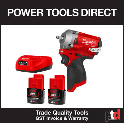 """New Milwaukee 12V Cordless Brushless Fuel M12Fiw38-202B Impact Wrench 3/8"""" Drive"""