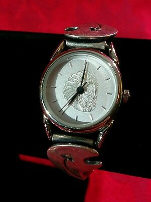Beautiful! OUT WEST DESIGNS Indian Head Sterling Silver Leather Ladies Watch