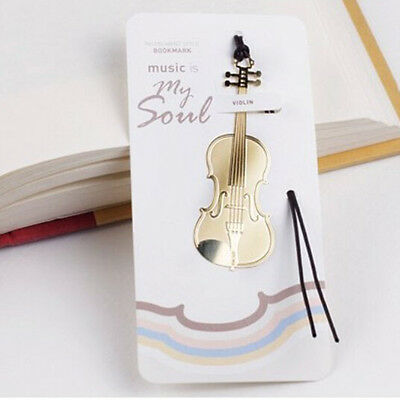 New Cute Gold Plated Metal Music Instruments Violin Bookmark Book Paper Reading