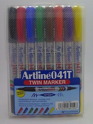 8 Pack Artline Assorted 041T Twin Permanent Marker Dual Nib 1.0mm 0.4mm 104148^