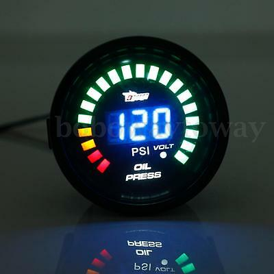 "2"" 52MM Car Auto LED Digital Oil Press Pressure PSI Gauge Meter Pointer W Sensor"