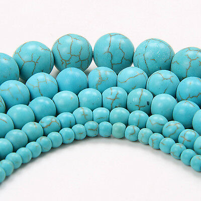Blue Turquoise 200x4mm 100x6mm 50x8mm 20x10mm Natural Gemstone Round Loose Beads