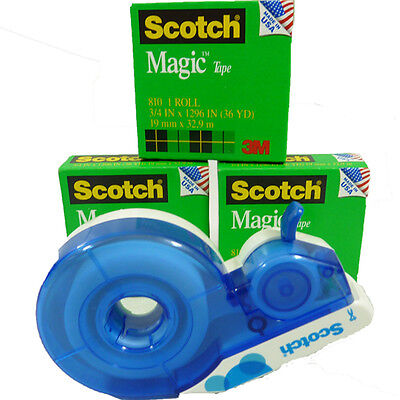 "Scotch Magic 3+1 Rolls of Tape 3/4""  4,478"" Total  & Deluxe Refillable Dispenser"