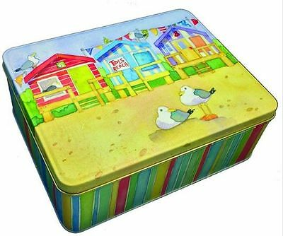 Emma Ball Coastal Beach Huts Seaside Rectangular Lunch Biscuit Storage Tin