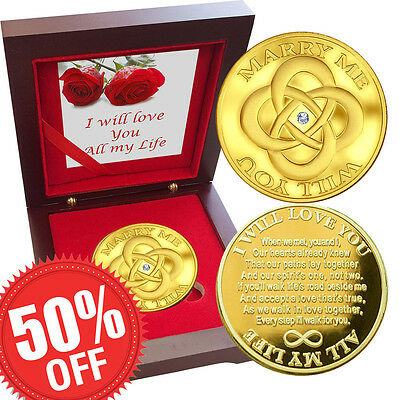 Valentine Coin MARRY ME Swarovski Gem 1 oz Gold layer Proof Silver Bullion Love