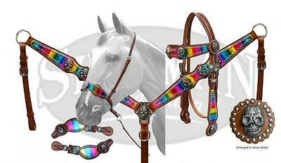 NEW Showman LIMITED EDITION 5 Piece Metallic Rainbow and Sugar Skull Concho Set!